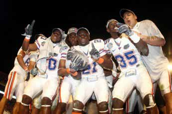 The Florida Gators celebrate winning the BCS National Championship for the 2008-2009 season on Jan. 8, 2009.