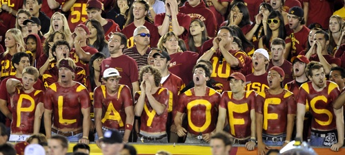 USC fans show their support for a playoff system.